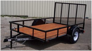 Flatbed trailer with ramp gate for 4 wheeler hunting
